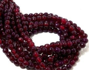 Agate, Purple-Magenta, Round, Faceted, 6mm, Small, Fired Agate, Gemstone Beads, 14.5 Inch Strand - ID 1783