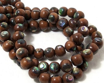 Magkuno Wood with Abalone Shell Inlay, Natural Wood, Handmade Artisan Beads, Round, Smooth, 8mm, Small, 8 Inch Strand - ID 1793
