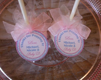 "Thanks for Popping By Baby Shower Custom Favor Tags- For Cake Pops - Lollipops - Shower Gift Favors - (50) 1.5"" Personalized Printed Tags"