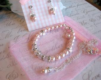 Custom Flower Girl Jewelry  Pearl Crystal and Swarovski Rhinestone Necklace-Bracelet and Earring Set - Wedding Special