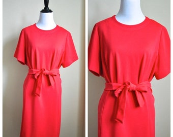 Valentines Day Red Medium 70s Style Dress - Shift Dress Polyester Knit Leslie Pomer - Lipstick Red