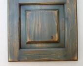 Reclaimed Wood Door - Turtle Creek - DIY wall decor -  washed blue and tan door
