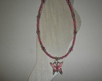 Pink Butterfly Charm Ankle Bracelet