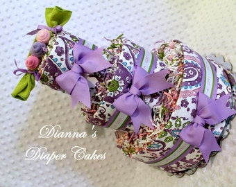 Paisley Baby Diaper Cake Choose from Purple OR Pink Peas in a Pod Shower Gift or Centerpiece