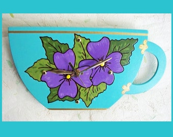 Kitchen Wall Teacup Clock Sea Breeze
