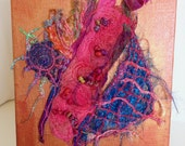 Thread Play Fuschia and Bright Blue on Copper Canvas