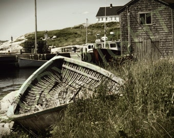 Print or Greeting Card, Rustic, Coastal, Peggy's Cove, Nautical, Boat, Photography, Vintage, Old Picture, Gift Idea, Home Decor