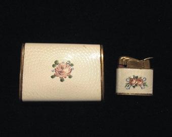 Vintage Evans Guilloche Cigarette Case And Lighter Ladies Lighter Pocket Lighter WORKING LIGHTER