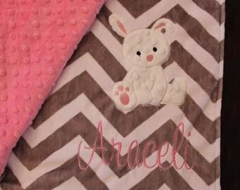 blanket, baby blanket, personalized blanket, minky blanket 29 x 35 blanket,bunny  blanket