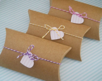 KRAFT Pillow Box - Qty 10 - Pillow box - 3x5 - Treat Packaging - Kraft Box - Favor Box - Wedding favors - kraft boxes