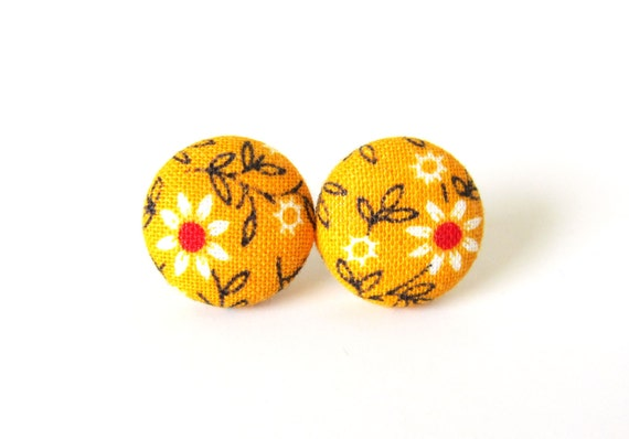Orange fabric button earrings - tiny floral stud earrings - red white black flowers - fall autumn