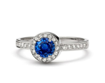 Halo Blue Sapphire Engagement Ring in 14k White Gold