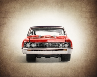 Vintage Red Nova Front End, One Photo Print, Boys Room decor, Vintage Car Prints