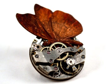 Steampunk Butterly Pin, Butterfly Brooch, Steampunk Pin