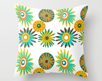 Floral Pillow Cover, Throw Pillow Cover, Modern Pillow Cover, White Pillow Cover,  Mid Century Modern Throw Pillow Cover