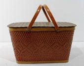 Vintage Redman Rust Colored Picnic Basket