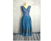 Vintage 1950's Dress // Blue Chiffon with Metallic Gold Screened Eastern/Paisley Print Full Party Dress