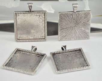6pcs Antique Silver Filigree Square Pendant Base Dot Pad Base Findings base fit 25mm gemstone beads,Cabochon Base Jewelry Fitting
