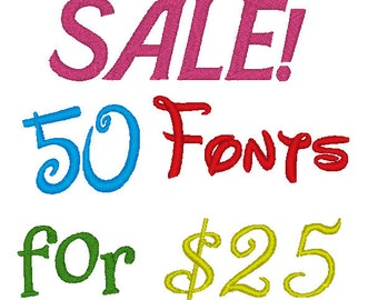DOWNLOAD! 50 Fonts for 25 Dollars PES ONLY