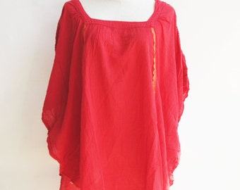 B11, Moth Bright Red Cotton Blouse, red shirt