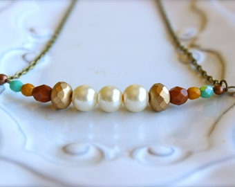 Pearl Gold Mustard and Teal beaded necklace,  Czech glass necklace,  bridesmaids necklace