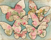 Romantic Butterflies Shabby Chic printable collage Paper Craft - JPG or PNG files (425) Buy 3 - get 1 bonus