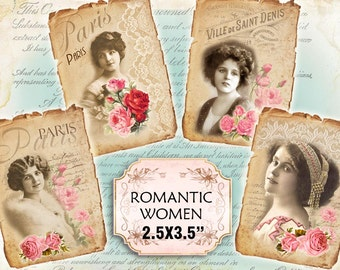 Paris Victorian Women Roses Shabby chic french whimsical Scrapbook Decoupage 3.5x2.5 inch (429)