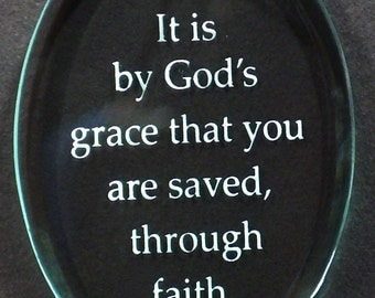 "Carved Glass ""God's Grace"" Saying Ornament"