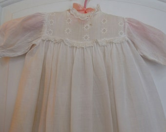 Antique Child's Christening Gown and Slip Long Embroidered