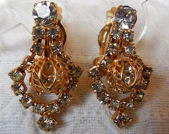 HOPE CHEST Gold Tone Rhinestone Dangle Clip On Earrings