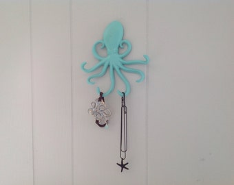 Cast Iron Octopus Hook  - Jewelry Holder - Key Holder - PICK YOUR COLOR
