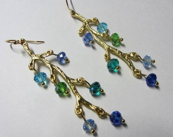 Golden Branch Swarovski Crystal Blue, Green & Aqua Dangle Earrings, Artisan, OOAK, Free US Shipping