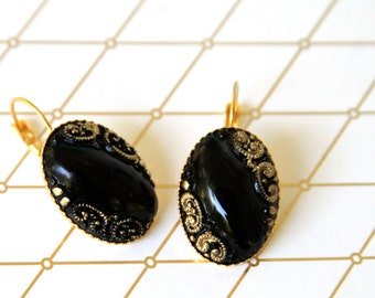 Black and Gold Oval Vintage Glass Lever Back Drop Dangle Earrings - Wedding, Bridal, Bridesmaid