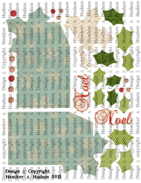 Vintage Shabby Chic Christmas Holly Gift Tag Ornaments Digital Collage sheet Printable