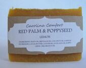 RED PALM lemon poppyseed soap- vegan soap, scrub soap, grit soap, natural soap
