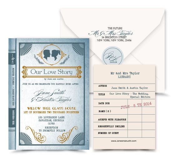 Vintage Book Wedding Invitation.Love Story Wedding By