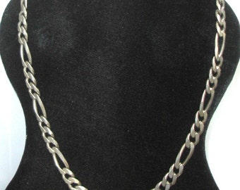 Vintage Wide Heavy ITALY Sterling 925 Silver UNISEX Figaro Chain Necklace- Urban Old School Hip Hop Fashion