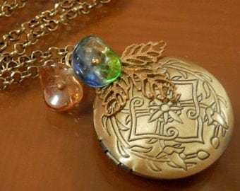 SALE! Bronzed Antiqued Round Locket,Czech Glass Flower beads.Christmas Gift Idea.Long Necklace