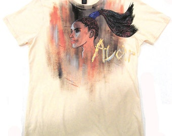 Hand Painted Pony Tail Girl illustrative T-Shirt Women's Size Large