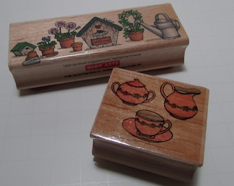 Garden Tea Party wood mounted rubber stamps - Destash, wooden, two stamps