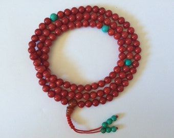 Tibetan Buddhist mala red coral mala 108 beads for meditation