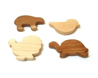 Wooden 4 Piece Woodland Animal Magnet Set Rustic Home Decor Cabin Decoration Wood Cutout Shapes Turkey Bird Bear Turtle