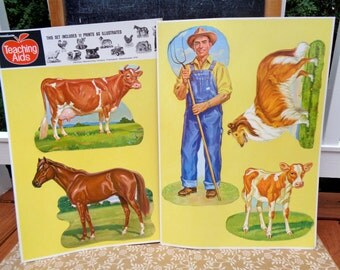 Vintage 1950's Dennison Farm Yard Die Cut Set of 5