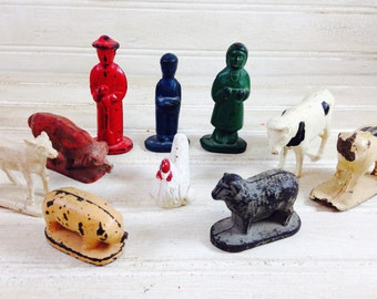 Vintage Child's Farm People and Animals Toys