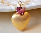 Valentines Day Jewelry, Heart Necklace, Genuine Garnet Pink Tourmaline Gemstone, Birthstone, Sterling Silver or Gold, Free Shipping
