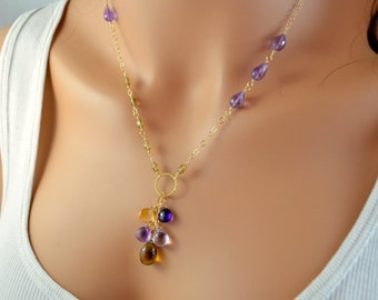 Gemstone Necklace, Amethyst Citrine Beer Quartz, Purple Lavender Yellow, Gold Filled Jewelry, Wire Wrapped, Free Shipping