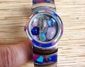 Lavander and Pink Seahorse Cuff Repurposed Upcycled/Recycled Beach Watch Bracelet