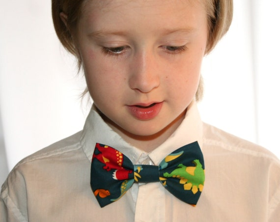 dinosaur clip on bow tie or hair clip ready to ship by