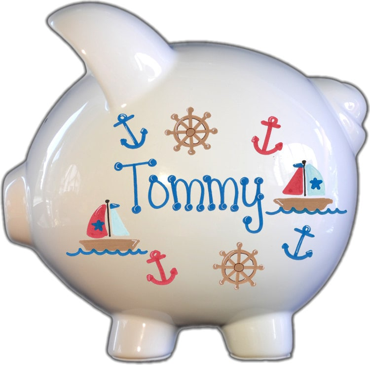 Personalized piggy bank with sailboat design white blue - Nautical piggy bank ...