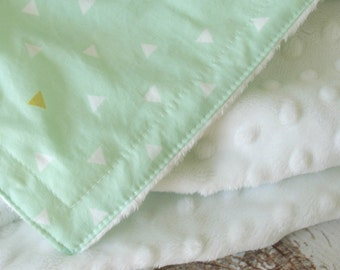 Minky Baby Blanket - Triangle Tokens - Personalization Available, faux fur blanket, satin trim baby blanket